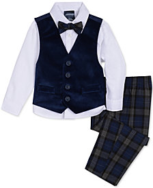 Nautica Baby Boys 4-Pc. Plaid Bow Tie, Velvet Vest, Shirt & Pants Set
