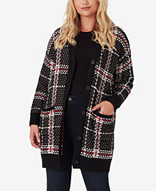 Jessica Simpson Trendy Plus Size Maria Plaid Cardigan