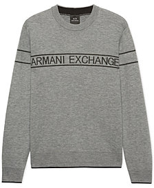 A|X Armani Exchange Men's Striped Logo Sweater