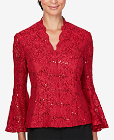 Alex Evenings Embellished Lace Top