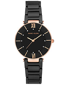 Anne Klein Women's Black Ceramic Bracelet Watch 30mm