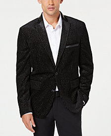 I.N.C. Men's Slim Velvet Metallic Striped Blazer, Created for Macy's