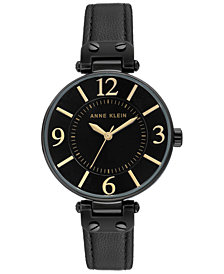 Anne Klein Women's Black Leather Strap Watch 34mm