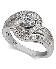 Diamond Swirl Halo Engagement Ring (1 ct. t.w.) in 14k White Gold