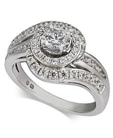 Diamond Swirl Halo Engagement Ring (1 ct. t.w.) in 14k White Gold