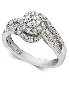 Diamond Halo Swirl Engagement Ring (1 ct. t.w.) in 14k White Gold