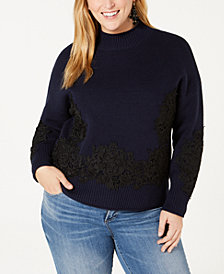 Belldini Black Label Plus Size Lace-Appliqué Sweater
