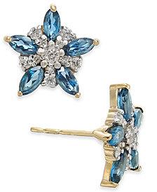 London Blue Topaz (1-1/3 ct. t.w.) & Diamond (1/5 ct. t.w.) Flower Stud Earrings in 14k Gold