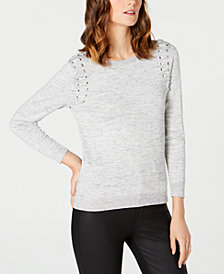 NY Collection Petite Grommet-Shoulder Sweater