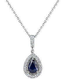 "Sapphire (3/4 ct. t.w.) & Diamond (1/4 ct. t.w.) 18"" Pendant Necklace in 14k White Gold(Also Available In Emerald and Ruby)"