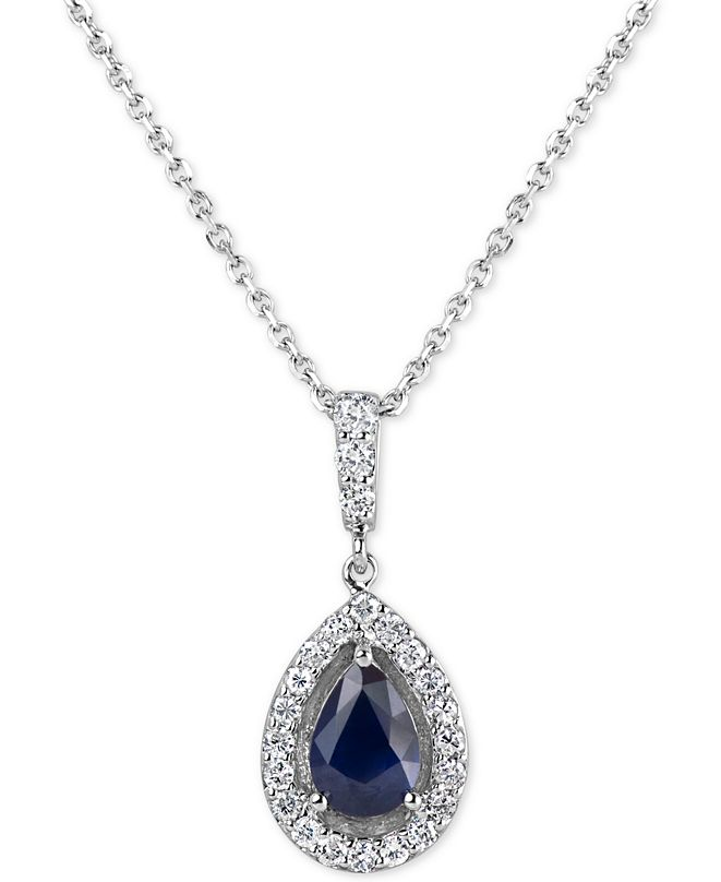 """Macy's Sapphire (3/4 ct. t.w.) & Diamond (1/4 ct. t.w.) 18"""" Pendant Necklace in 14k White Gold(Also Available In Emerald and Ruby)"""