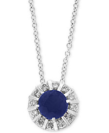"EFFY Sapphire (3/8 ct. t.w) & Diamond (1/4 ct. t.w) 18"" Pendant Necklace in 14K White Gold (Also Available in Emerald, Certified Ruby & Tanzanite)"