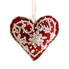 Global Goods Partners Embroidered Woolen Heart Ornament