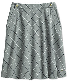 Tommy Hilfiger Women's Windowpane Plaid Skirt from The Adaptive Collection