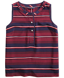 Tommy Hilfiger Women's Sleeveless Striped Shirt from The Adaptive Collection