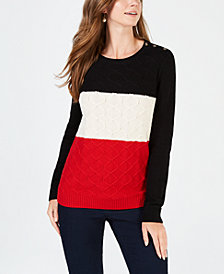 Charter Club Colorblocked Cable-Knit Sweater, Created for Macy's