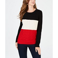 Charter Club Womens Colorblocked Cable-Knit Sweater Deals