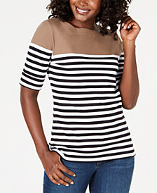 Karen Scott Colorblocked Elbow-Sleeve Top, Created for Macy's