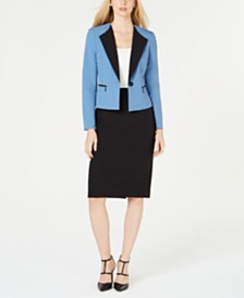Le Suit Contrast-Collar Skirt Suit