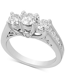 Diamond Three Stone Engagement Ring (2 ct. t.w.) in 14k White Gold