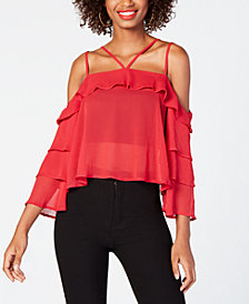 Material Girl Juniors' Ruffled Cold-Shoulder Top, Created for Macy's