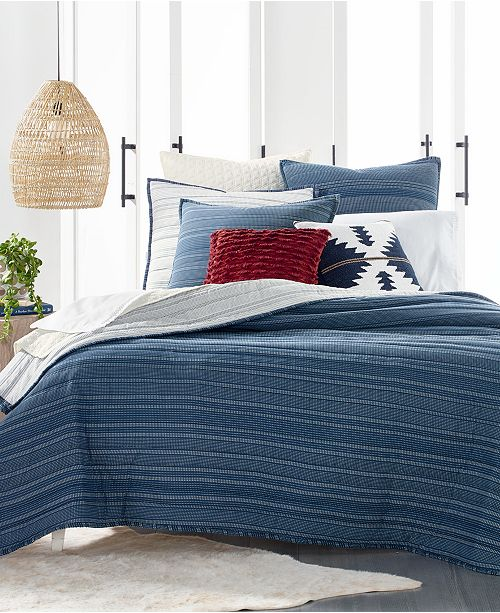 Lucky Brand CLOSEOUT! Running Stitch Reversible Quilts & Shams, Created for Macy's