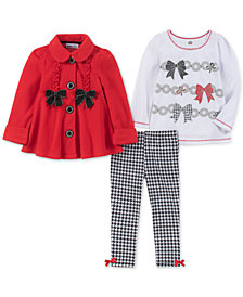 Kids Headquarters Baby Girls 3-Pc. Fleece Jacket, T-Shirt & Leggings Set