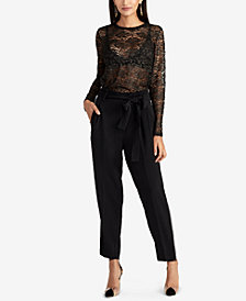 RACHEL Rachel Roy Vivian Sheer Metallic Lace Top