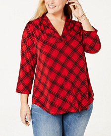 Plus Size Printed 3/4-Sleeve Top, Created for Macy's