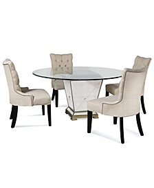 """Marais Dining Room 5 Piece Set (60"""" Mirrored Dining Table and 4 Side Chairs)"""