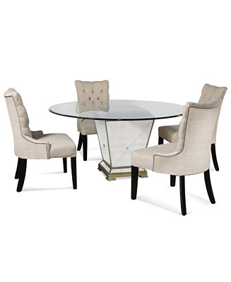 Furniture Marais Dining Room Furniture 5 Piece Set 60 Quot Mirrored Dining Table And 4 Side Chairs