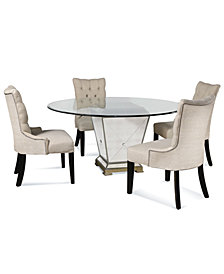 "Marais Dining Room Furniture, 5 Piece Set (60"" Mirrored Dining Table and 4 Side Chairs)"