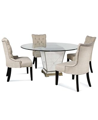 "marais dining room furniture, 5 piece set (54"" mirrored dining"