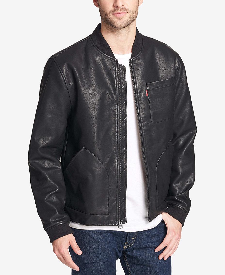 Levi s Men s Faux-Leather Depot Jacket   Reviews - Coats   Jackets ... d35ce7edc70bf
