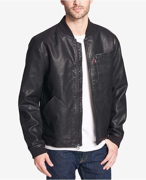 def858a4b3 Levi s Men s Faux-Leather Depot Jacket   Reviews - Coats   Jackets ...