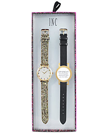 I.N.C. Women's Gold-Tone Glitter Faux Leather Strap Watch 36mm with Interchangeable Strap, Created for Macy's