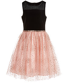 Pink & Violet Big Girls Velvet Glitter Mesh Dress