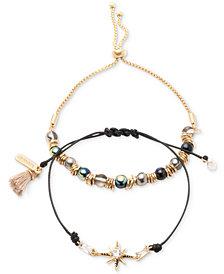 lonna & lilly Gold-Tone 2-Pc. Set Crystal, Bead & Tassel Corded Slider Bracelets