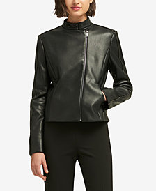 DKNY Asymmetrical Faux-Leather Jacket, Created for Macy's