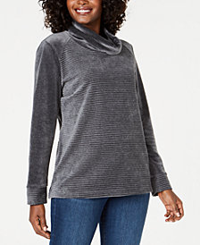 Karen Scott Ribbed Velour Cowl-Neck Top, Created for Macy's