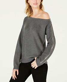 Bar III Ribbed Zipper-Sleeve On or Off Shoulder Sweater, Created for Macy's