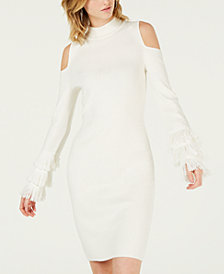 Bar III Cold-Shoulder Fringe Sweater Dress, Created for Macy's