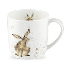 "Royal Worcester  Wrendale 11 oz. Rabbit Mug ""Good Hare Day"" - Set of 6"