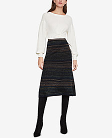 BCBGMAXAZRIA Striped Metallic A-Line Skirt