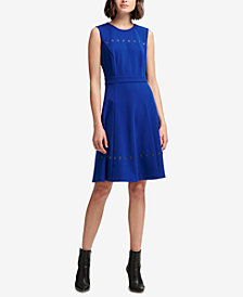 DKNY Grommet-Trim A-Line Dress, Created for Macy's