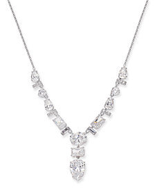 """Danori Silver-Tone Multi-Crystal Lariat Necklace, 16"""" + 1"""" extender, Created for Macy's"""