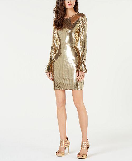 5107b4a03b4 Michael Kors Sequined Flounce-Cuff Dress   Reviews - Dresses ...