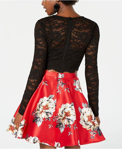 8cf2f53193 City Studios Juniors  2-Pc. Lace   Floral-Print Fit   Flare Dress ...