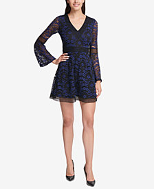 kensie Lace Bell-Sleeve Fit & Flare Dress
