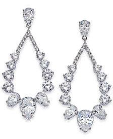 Danori Silver-Tone Stone & Crystal Teardrop Drop Earrings, Created for Macy's